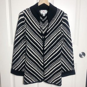 Alice and Olivia Scoop Wool Chevron Cardigan Black